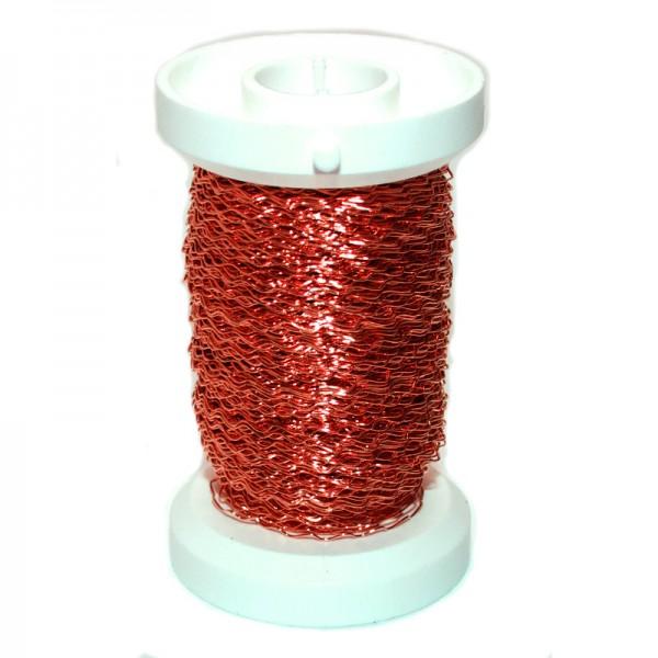 Bouillondraht, Effektdraht, rot, 0,3 mm Ø - 45 m