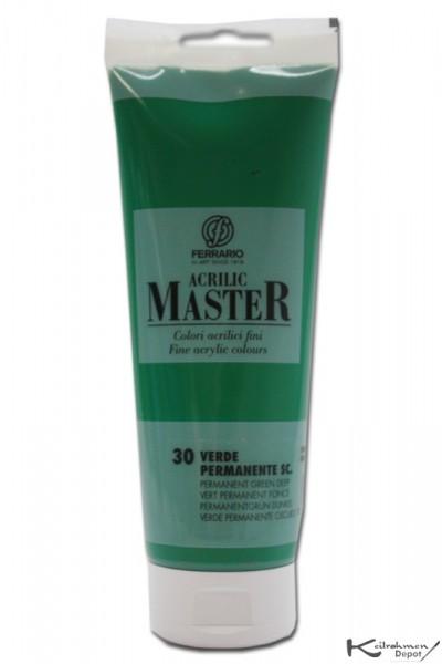 Ferrario Acrilic Master Acrylfarbe, 250 ml, Permanentgrün dunkel