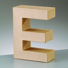 Buchstabe E, 17,5 x 5,5 cm, aus Pappmachè