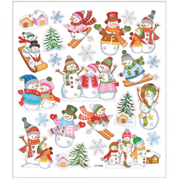 Sticker, Blatt 15x16,5 cm, ca. 24 Stück, Skifahren, Schneemänner
