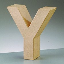 Buchstabe Y, 17,5 x 5,5 cm, aus Pappmachè