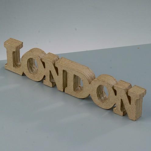 Schriftzug London aus Pappmachè, 21,7 x 4 x 1,5 cm
