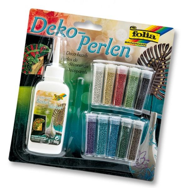 Dekoperlen-Set, 10 Röhrchen, farbig sortiert, 1 Deko-Kleber