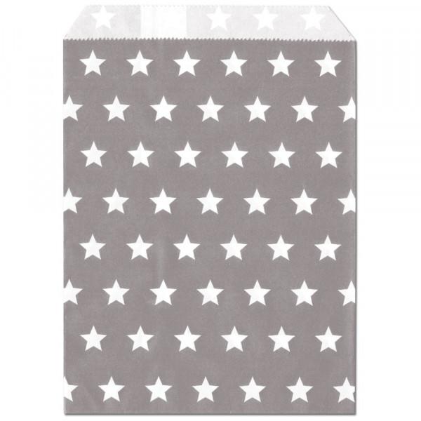 Papier-Geschenktüte, silbergrau, Sterne, 13x16,5cm, 25 Stück