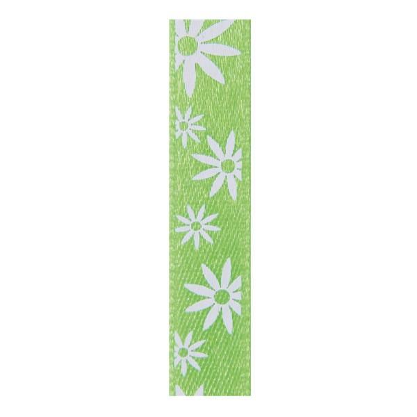 Satinband mit Blumenmuster, 10mm - maigrün