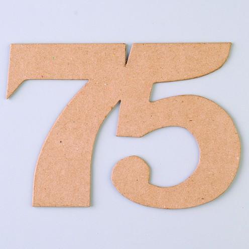 Zahl 75, 17 x 12 x 0,3 cm, aus Pappmaché