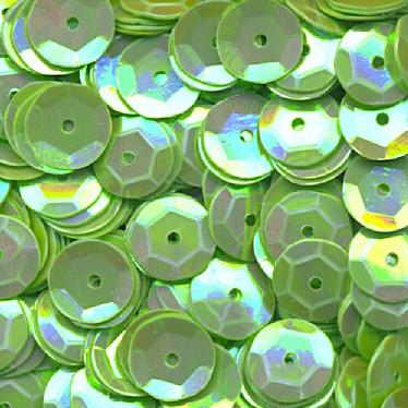 Pailletten, rund, gewölbt, 6 mm, 1400 St, grün-iris