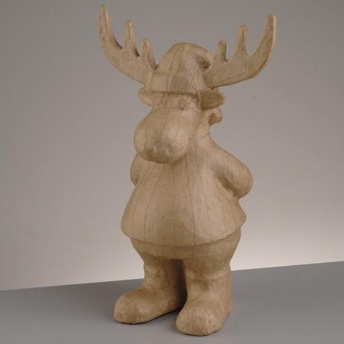 Rentier stehend, aus Pappmachè, 30,5 x 19,5 x 12,5 cm