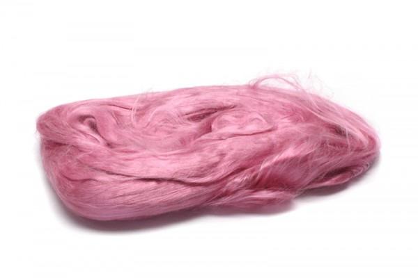 Maulbeerseidenfasern, gekämmt, 10 g, rosa glänzend