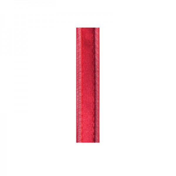 Satinband mit Chiffonkante, 10mm, - hochrot