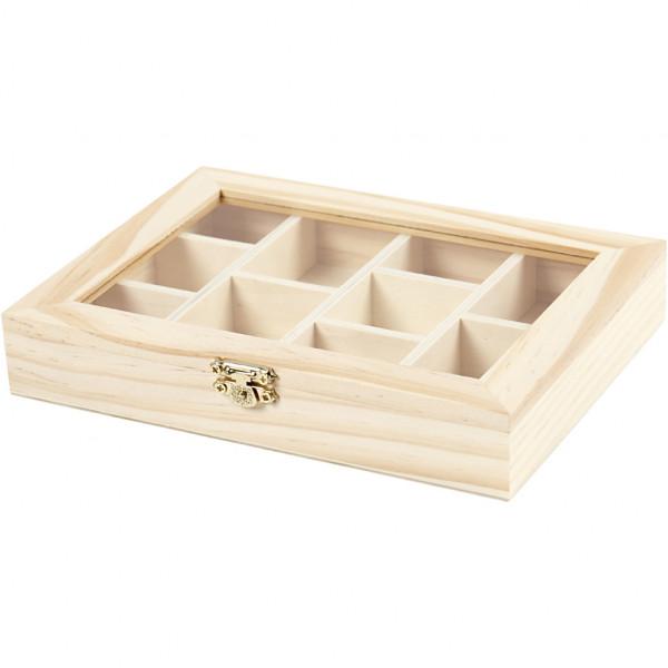 Holzbox mit Glasdeckel, 15,5 x 20,5 cm, Höhe 3,5 cm