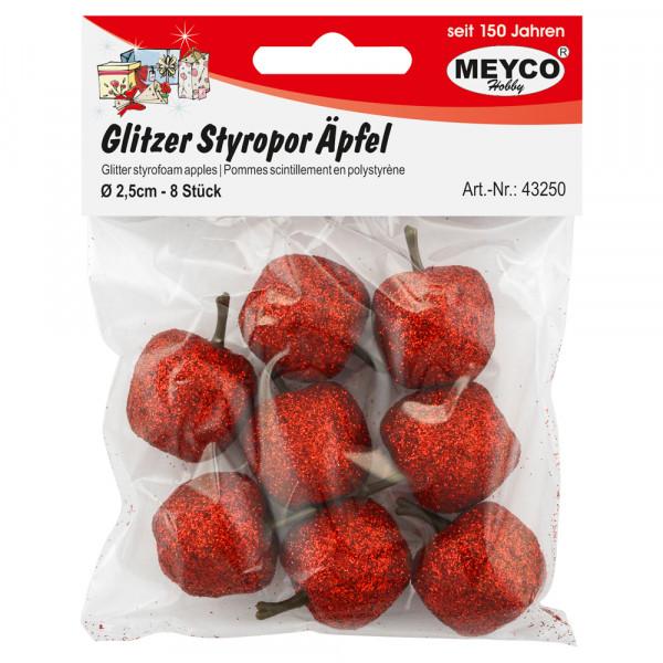 Glitzer-Styropor-Äpfel, rot, 2,5cm, 8 Stk