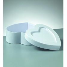 Passepartout-Box Herz, weiß, aus Pappmaché, 15 x 15 x 6 cm