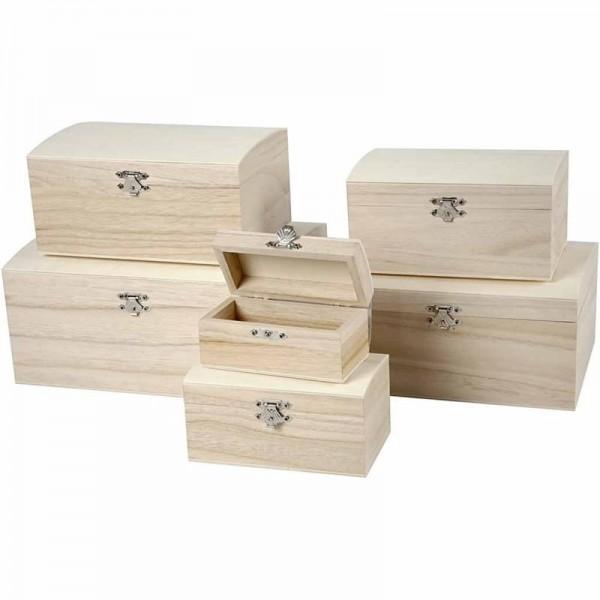 Holz-Runddeckeltruhen 6er Set