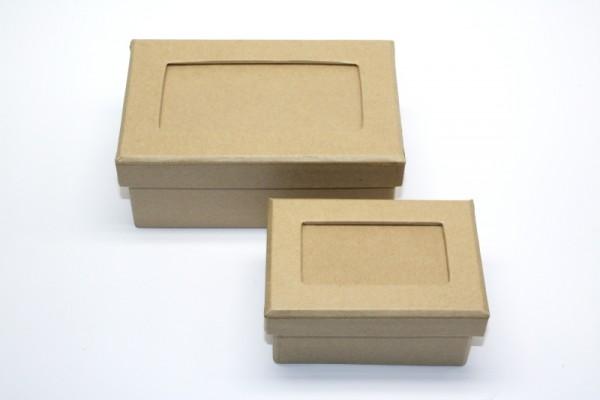 Schachtel-Set Rechteck, Passepartout, aus Pappmaché, 2-teilig