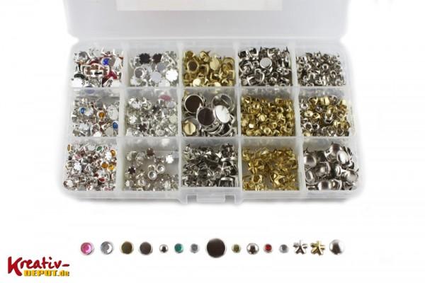 Metall-Nieten Box, 1000 Stück