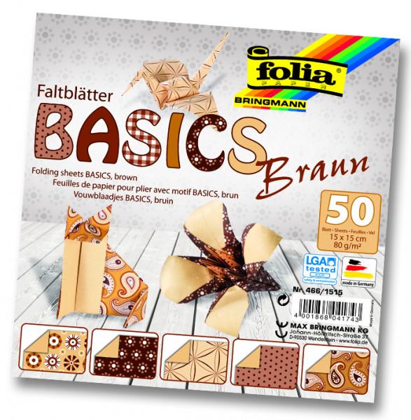 Faltblätter Basics, 15x15 cm, 50 Blatt, 80 g/m², 5 Designs, braun