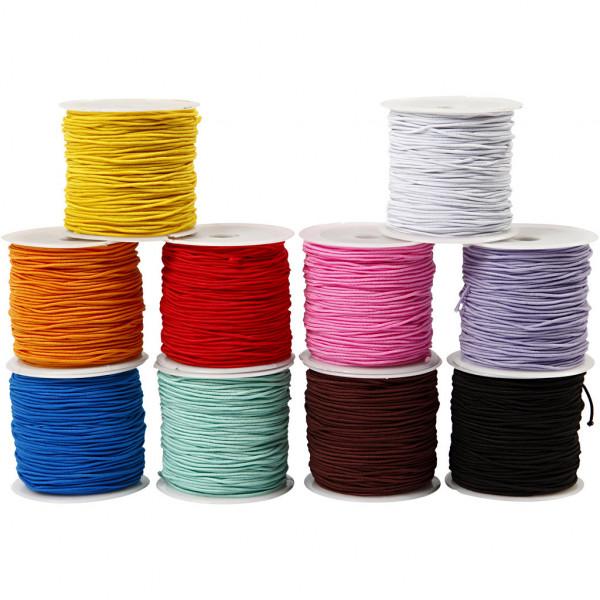 Gummiband - elastische Schnur, 1 mm, in 10 leuchtenden Farben à 25 m