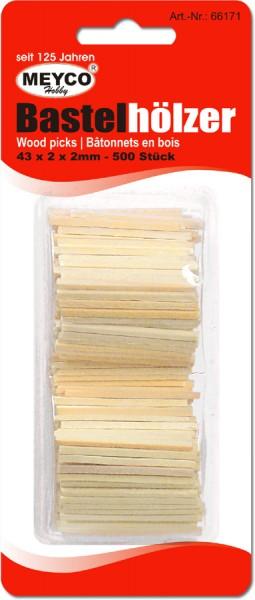 Bastelhölzer/Streichhölzer, natur, 43x2x2 mm, 500 Stück