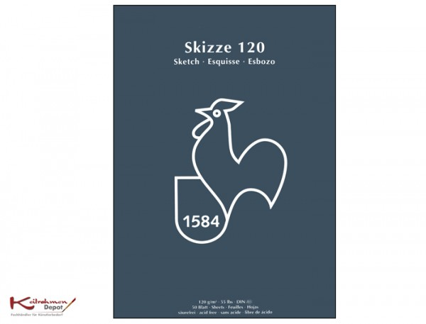 Skizzenblock 120 g/m², DIN A5, 50 Blatt