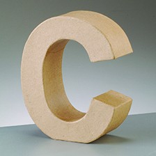 Buchstabe C, 5x2 cm, aus Pappmaché