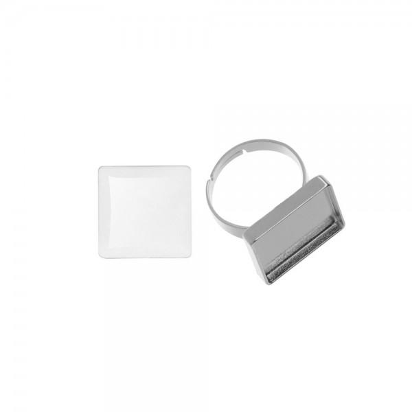 Cabochon + Fingerring, quadratisch 20x20 mm