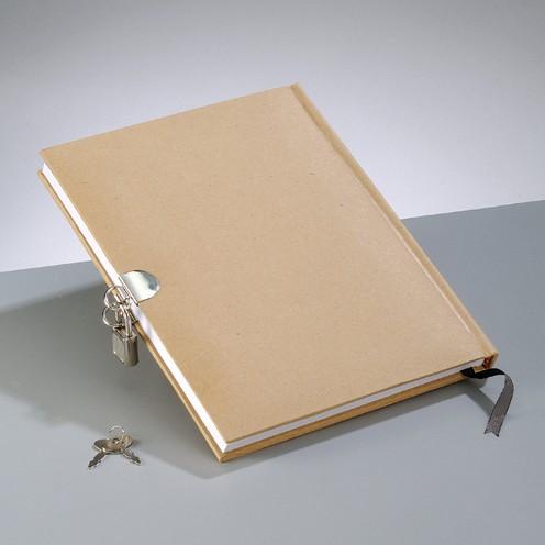 Tagebuch mit Schloß, aus Pappmachè, 21x16 cm