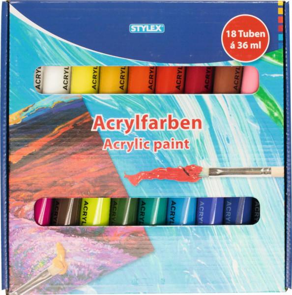 Acrylfarben-Set mit 18 x 36 ml Tuben