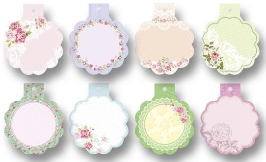 Geschenkanhänger Mini Cutties, 8 Stück, Rosen