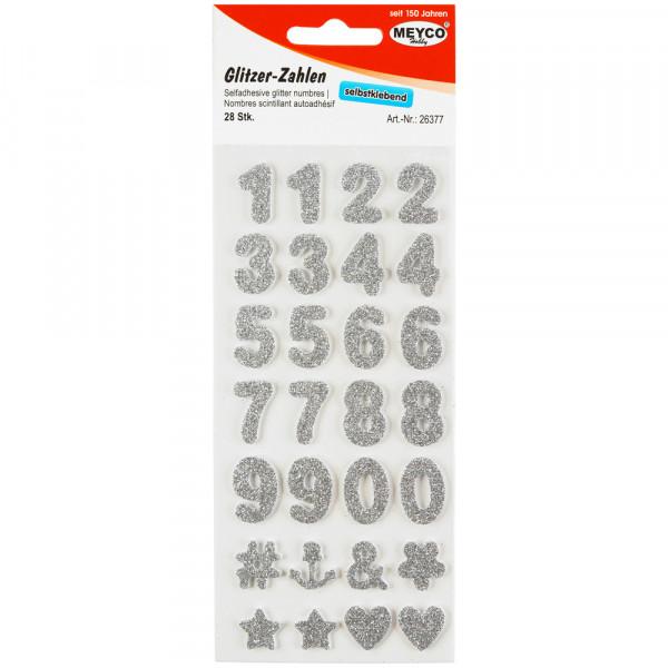 Zahlen Sticker, Glitter-silber, 2mm stark, 2cm hoch