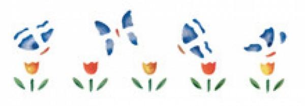 Motiv-Schablonen Schmetterlinge im Tulpenbeet 13x40cm