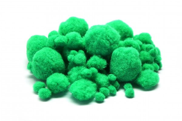 Pompons-Mix, Ø 1 - 4,5 cm, 100 Stück, grün