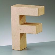 Buchstabe F, 10 x 3 cm, aus Pappmaché