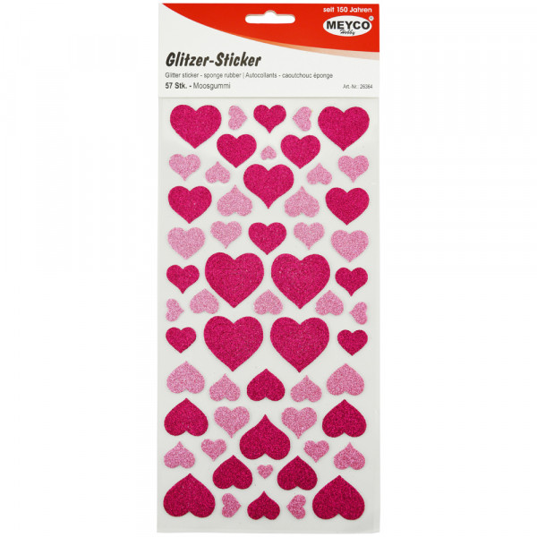 Moosgummi-Sticker Herzen, glitter-pink/rosa, 57 Stück