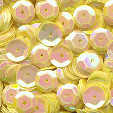Pailletten, rund, gewölbt, 6 mm, 1400 St, gelb-iris