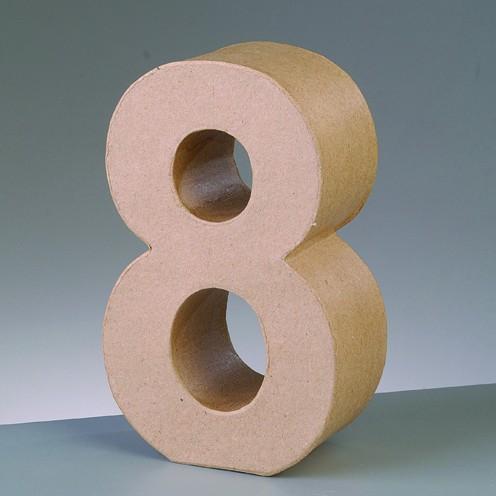 Zahl 8, 10 x 3 cm, aus Pappmaché