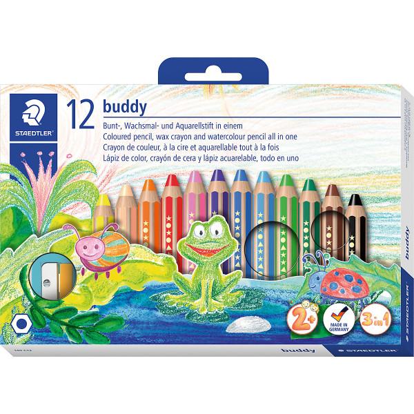 buddy-Buntstifte 3 in 1, 12 Farben, inkl. Anspitzer