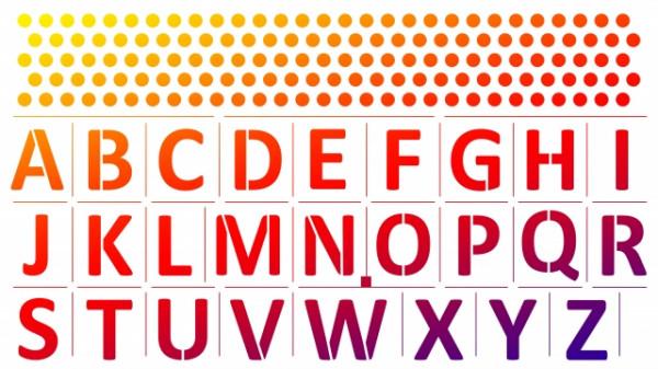Viva Decor Wand-Schablone, 35x62 cm, Alphabet/Namensbordüre