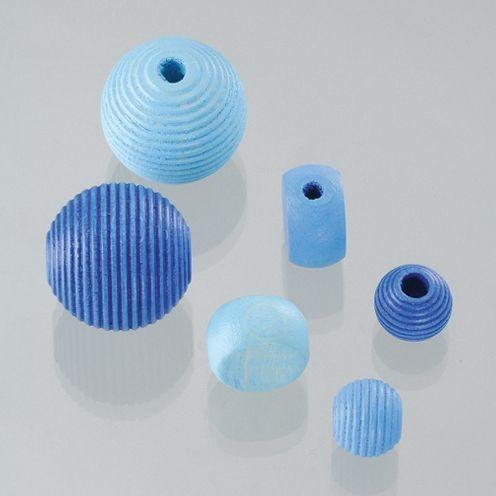 Holzperlen Formen-Mix blaumix, ca. 6-20 mm - 25 Stück