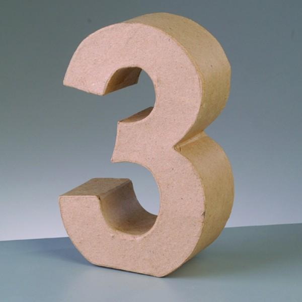 Zahl 3, 5x2 cm, aus Pappmaché
