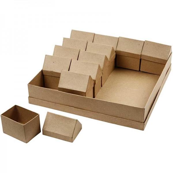Schachtel Haus, aus Pappmachè, 6 x 8,5 cm