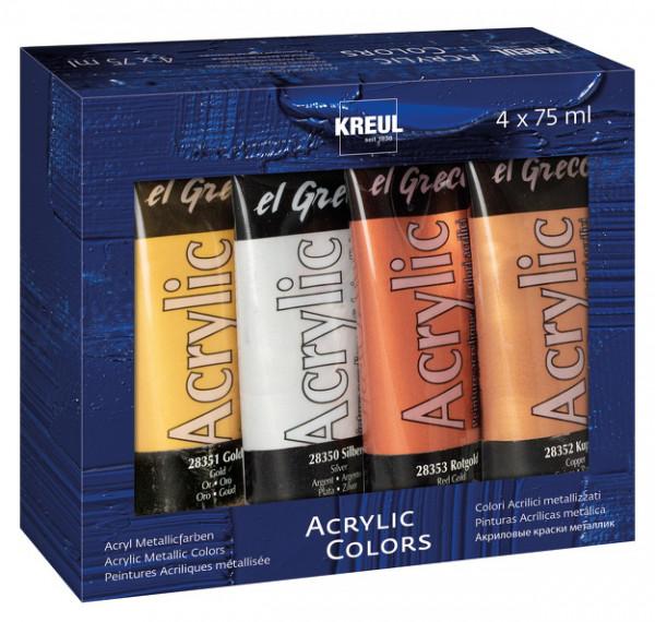 KREUL el Greco Acrylic 75 ml 4er Set Metallic Colors