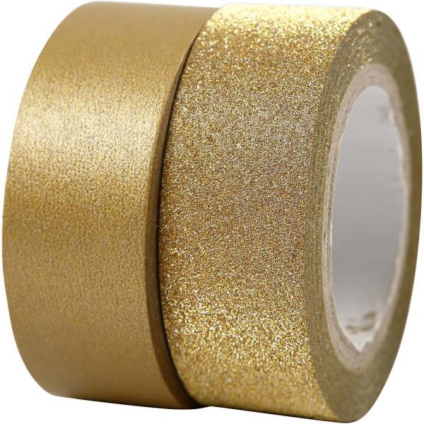 Washi-Tape, Vivi Gade Design, 15 mm, 10 m + 7 m, Gold/Gold-Glitter