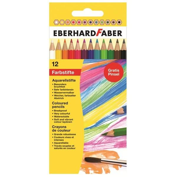 EBERHARD FABER Aquarellfarbstifte, 12 Farben im Kartonetui