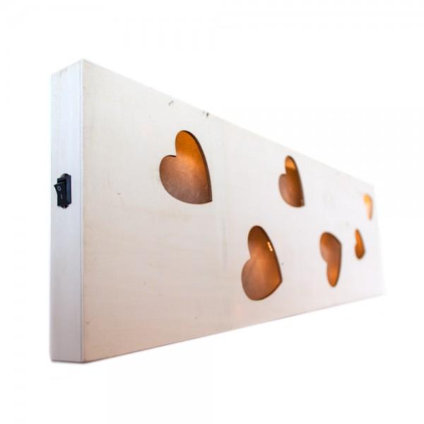 Wand Deko   Herzen + LED Licht