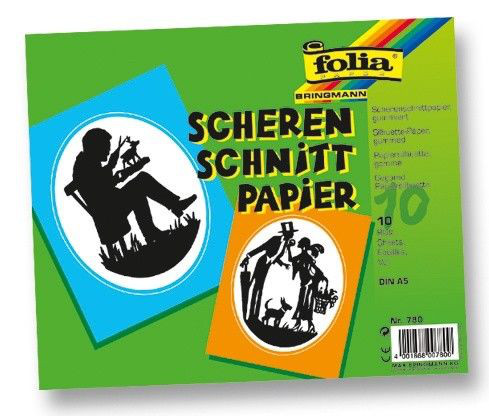 Folia Scherenschnittpapier DIN A5, gummiert, 10 Blatt