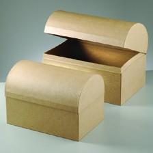 Boxen-Set Schatztruhen, aus Pappmaché, 2-teilig
