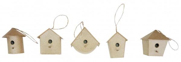 decopatch Vogelhaus klein, aus Pappmachè, 5 Stück sortiert