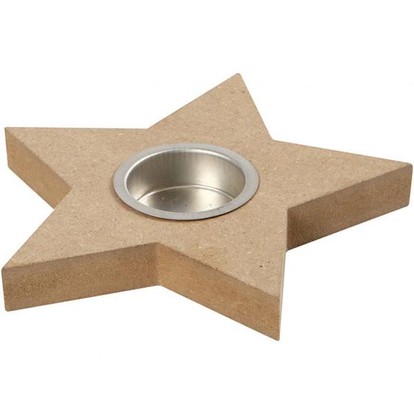 Teelichthalter Stern, mit Metalleinsatz, MDF, Ø 15 cm