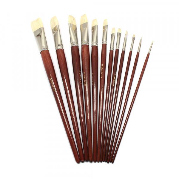 Borstenpinsel, Flachpinsel Set, Nr. 2-24, langer Stiel, 12 Stück sort.